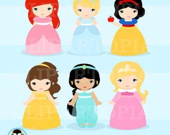 Princesas Clasicas digital clipart, princesas clipart, princess clip art  para tarjetas scrapbooking, web uso personal y comercial