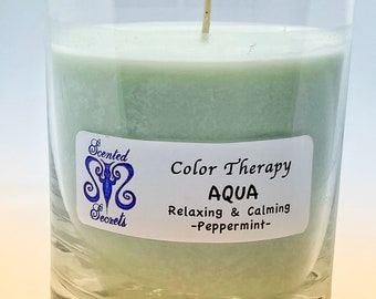 Relaxing and Calming Candle in Aqua Color