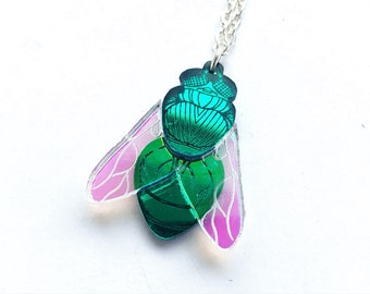 Bluebottle Fly pendant with iridescent wings