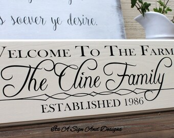 Welcome to the Farm Sign, Farm Sign, Farmhouse sign, Family Established Sign, Farmhouse Wall Decor, Last Name Established, Farmhouse Wedding