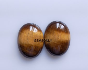 2pc Natural Tiger Eye/'s Oval 15x20mm cabochon gemstone yellow tiger eye agate 15x20mm cabochon Matching pair super quality gemstone 15x20mm