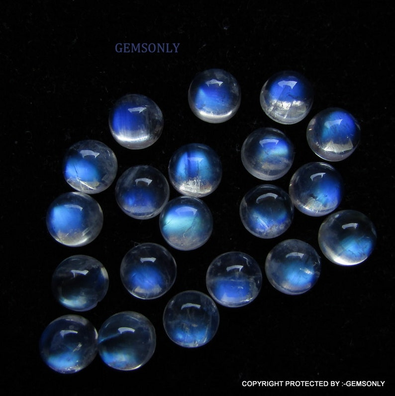 20pc 6mm Rainbow Moonstone round cabochon 6mm blue flash rainbow moonstone blue rainbow full blue flash best price excellent whole-sell deal