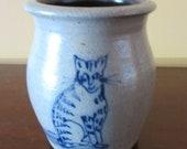 Adorable Rowe Pottery Works Salt Glazed Blue Kitten Vase, Cat Rescue