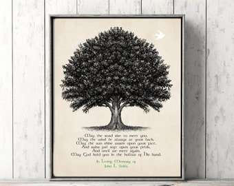 Remembrance Art IRISH BLESSING Family Tree Flying Bird Grief Grieving Canvas Print Memorial Loss Loved One In Memory Sympathy Gift
