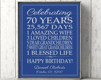 70th BIRTHDAY GIFT Birthday Sign Canvas Personalized Gift for Dad Mom Birthday, Grandpa Gift Grandma Birthday Art Print Poster Banner Custom