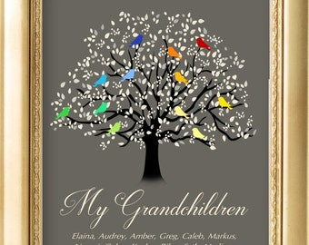 Grandchildren Tree, Family Tree Canvas Print with Grandkids Names, Family Tree Wall Art, Gift for Grandma, Tree with Birds CUSTOMIZED