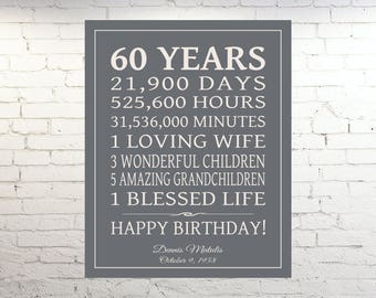 60th BIRTHDAY GIFT Sign Dad Birthday Gift Mom Print Canvas Personalized Grandpa Digital File OR Custom