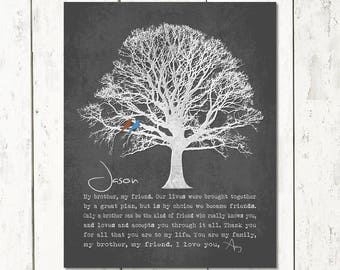 brother gift my friend personalized poem art print tree birds groomsmen gift from sister or from brother christmas gift for brother