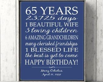 65th BIRTHDAY GIFT Sign Print Personalized Art Mom Birthday Dad Gift Grandpa Custom Or Digital Download Keepsake Banner