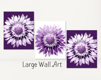 PLUM Purple Large Wall Art Paper Flowers Bathroom Bedroom Modern Abstract Decor Prints Or CANVAS Dahlia Set