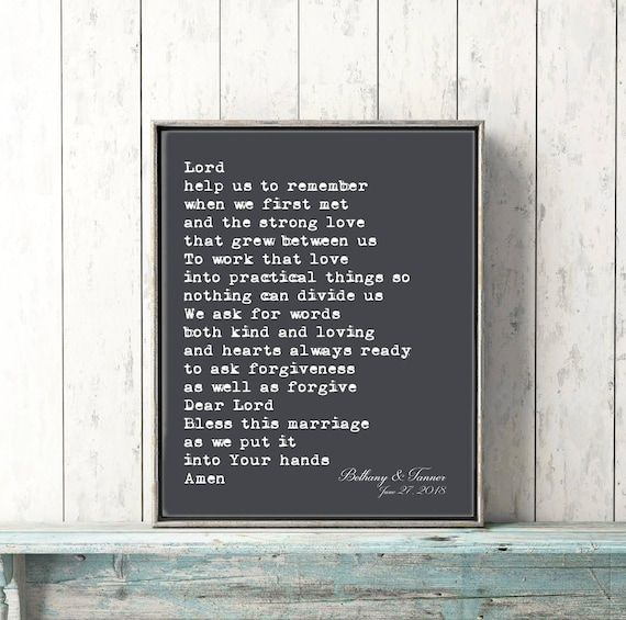 Personalized Wedding Gift Art Print Marriage Prayer Blessing Etsy