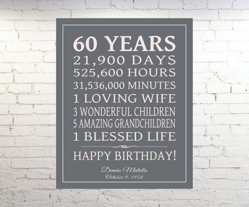 60th BIRTHDAY GIFT Sign Dad Birthday Gift Mom Print