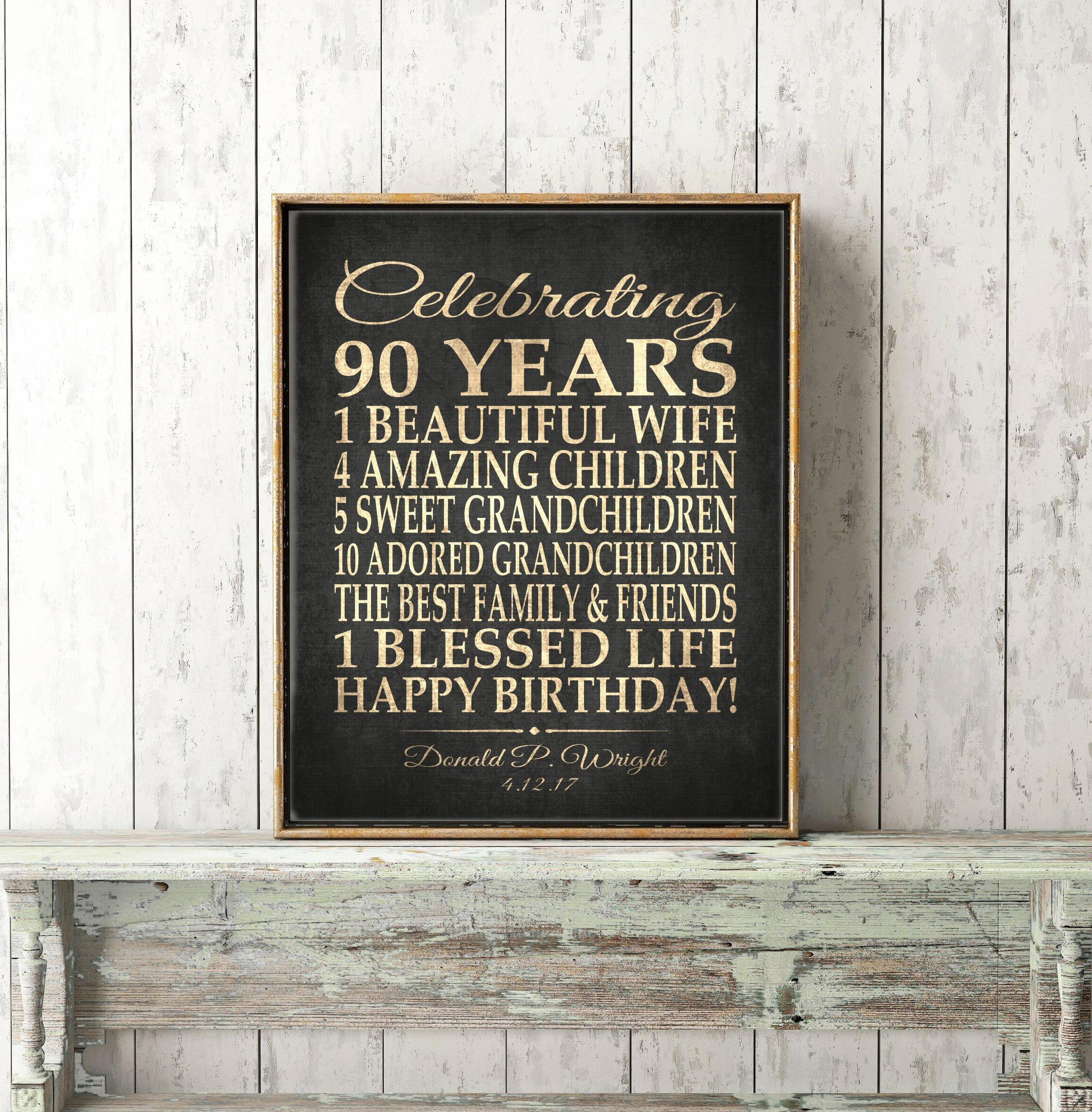 90th BIRTHDAY GIFT Sign Print Personalized Grandma Birthday Grandpa Or Dad Gift Canvas Download Keepsake Custom 90 Years Faux Gold
