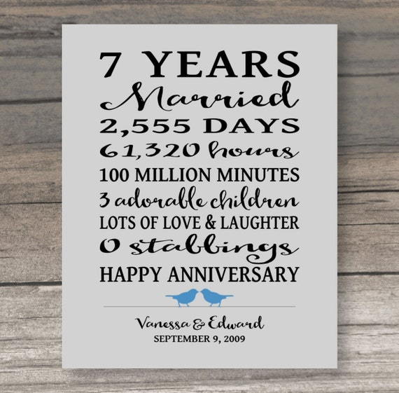 7th Wedding Anniversary Gift For Her: 7 Year ANNIVERSARY GIFT Funny Anniversary Gift For Spouse Art