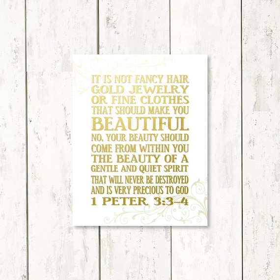 1 Peter 3: 3-4 Inspirational Art Print Bling Faux Gold Beauty Within Bible  Verse Sign Christmas Gift Gift for Women, Gift Ideas for Her