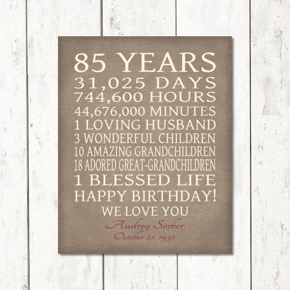 85th BIRTHDAY GIFT Sign Print Personalized Art Mom Dad Grandma