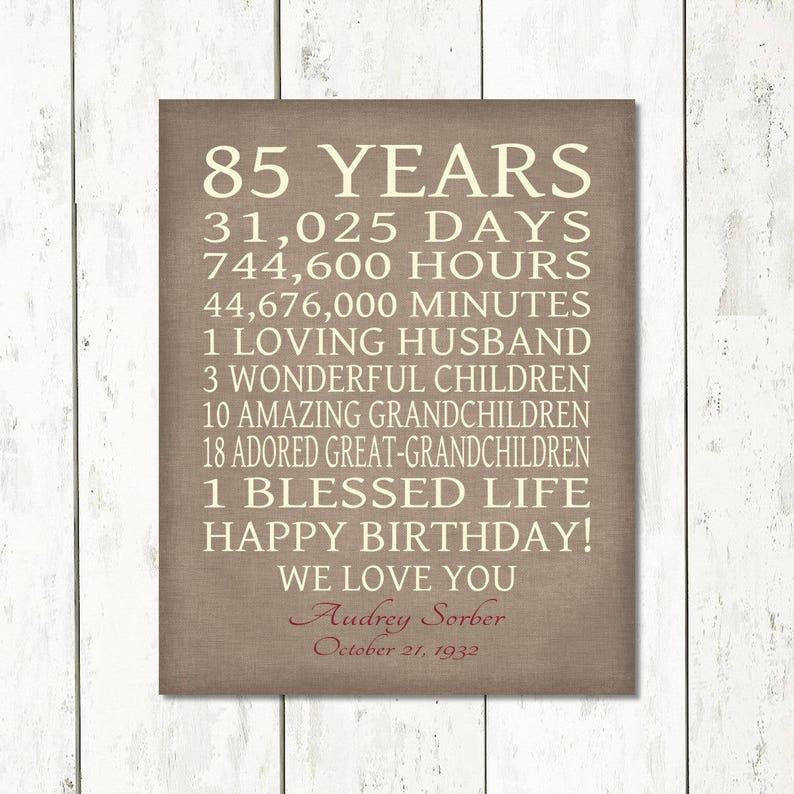 85th BIRTHDAY GIFT Sign Print Personalized Art Mom Dad Grandma