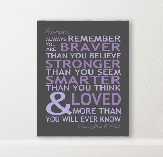 Always Remember You Are Braver Gift Print You Are Loved Print Etsy