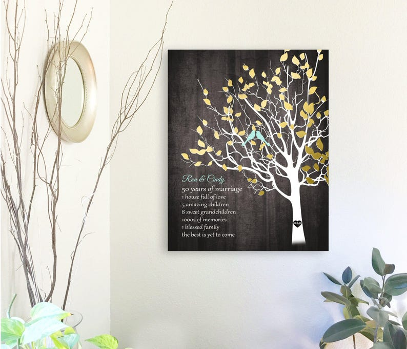 22d4c446743 Gift for Parents Golden Anniversary Family Tree Canvas Print