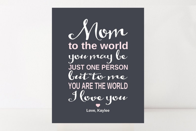 Birthday Gift Mom Personalized Print From Daughter To Mother Grandma Me You Are The World Art Custom Colors