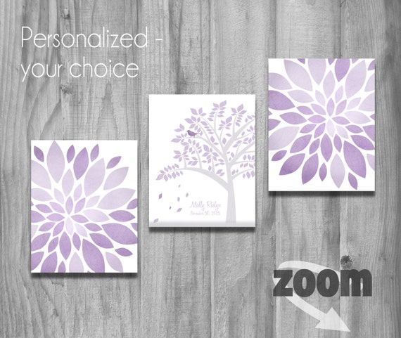 Popular Items For Nursery Decor On Etsy Baby Shower: Items Similar To Purple Lavender Gray Girls Nursery Wall