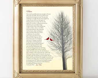 Gift for Mom Poem for Mother from Son or from Daughter Cardinal Bird  Gift Art Print / Canvas to Mom Custom Poem  Christmas Gift