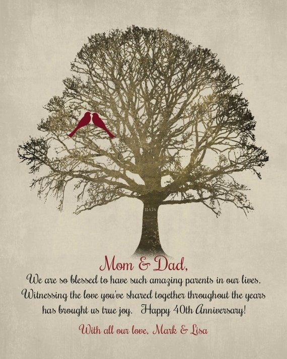 40th Anniversary Parents Gift Mom Dad 40 Years Family Tree Etsy
