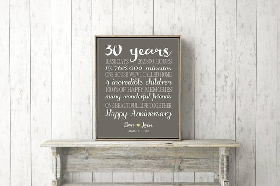 30 Years Wedding Anniversary Gifts.30th Anniversary Gifts For Wife Personalized Gift Spouse 30 Years Wedding Anniversary Gift For Husband Days Hours Minutes Print Or Canvas