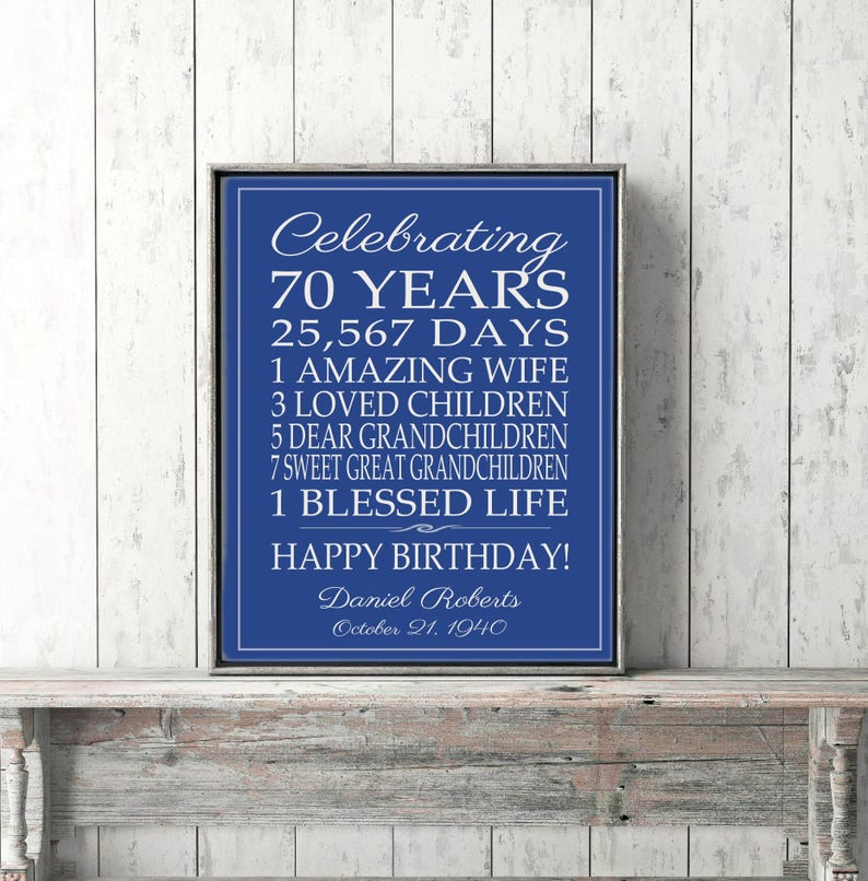 70th BIRTHDAY GIFT Birthday Sign Canvas Personalized Gift For Dad Mom Grandpa Grandma Art Print Poster Banner Custom