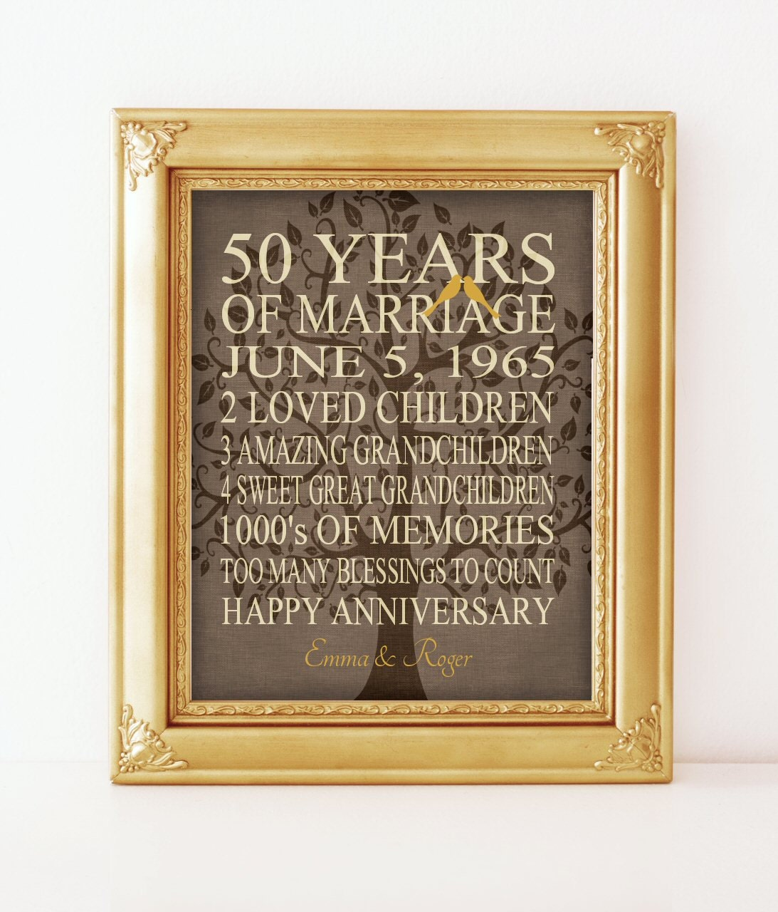 5Oth Anniversary Gift 50 Years Personalized Print Canvas ...