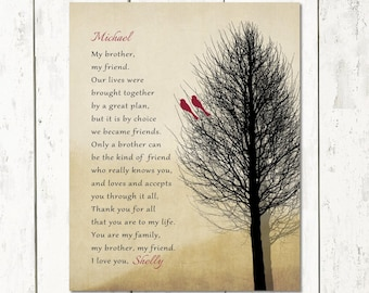 BROTHER Birthday Gift From Sister, Print or Canvas, Brother Poem, Groomsmen Gift, Masculine Woodsy Brother My Friend