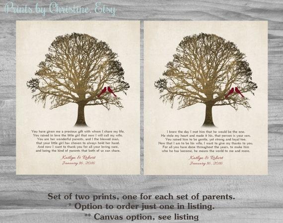 Les Parents Personnalisé Merci Mariage Cadeau Poème Maman Papa Merci Cadeau De Couple Ensemble De Deux Tirages Ou Toile