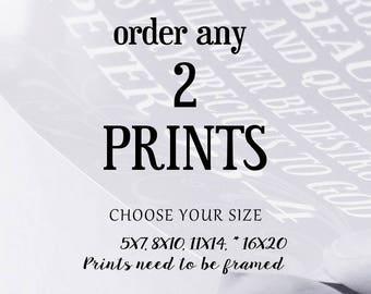 Buy 2 Prints Any two prints Wall Art 8x10 11x14 5x7 16x20 Home Decor