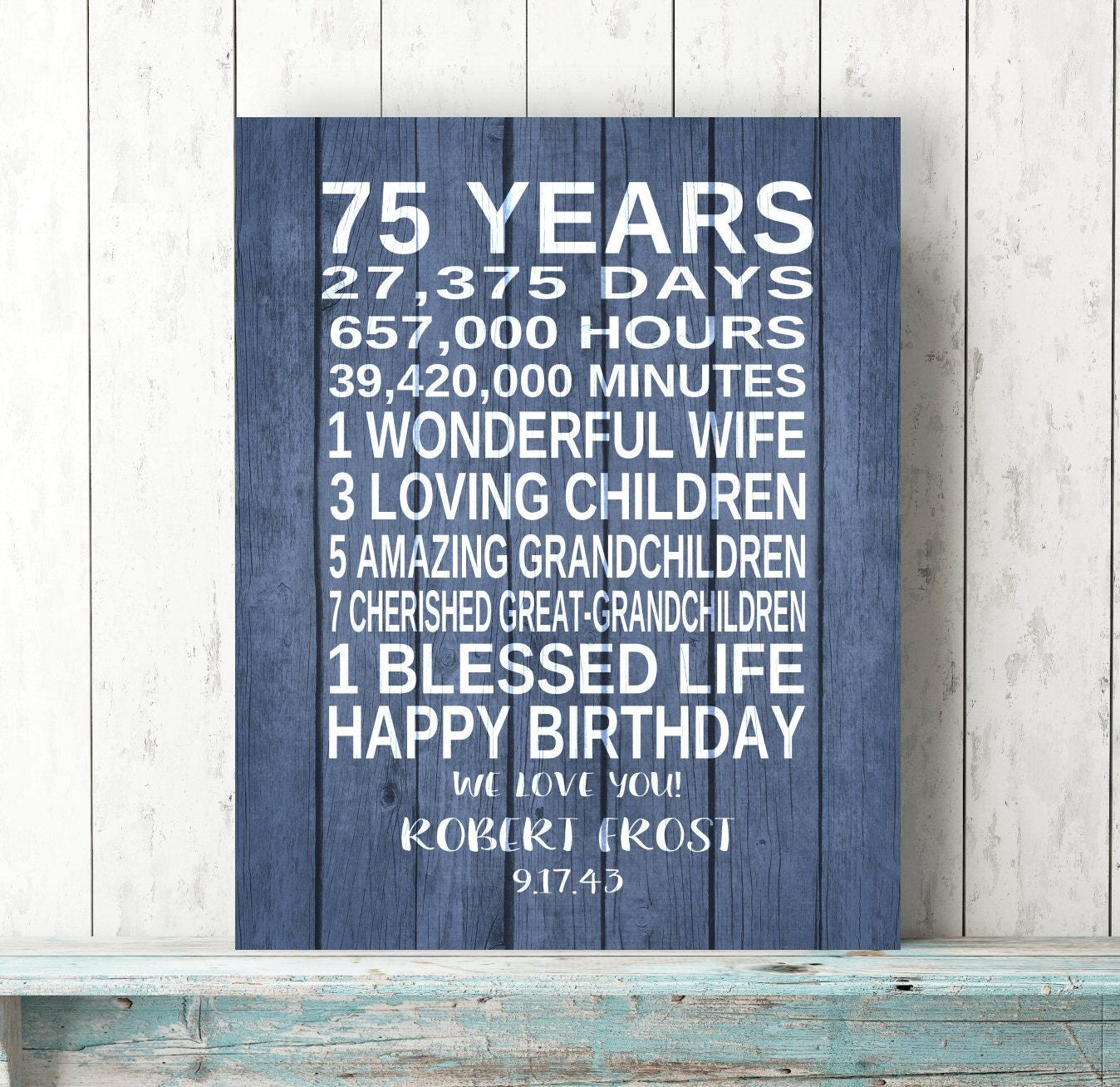 75th BIRTHDAY GIFT Personalized Birthday Art Print Canvas Dad