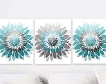 Turquoise Gray Abstract Floral Art, set of 3, wall decor, canvas or prints for bathroom, bedroom, flower burst, large artwork  three piece