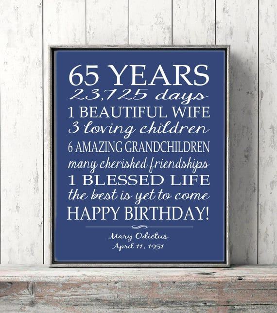 65th BIRTHDAY GIFT Sign Print Personalized Art Mom Birthday