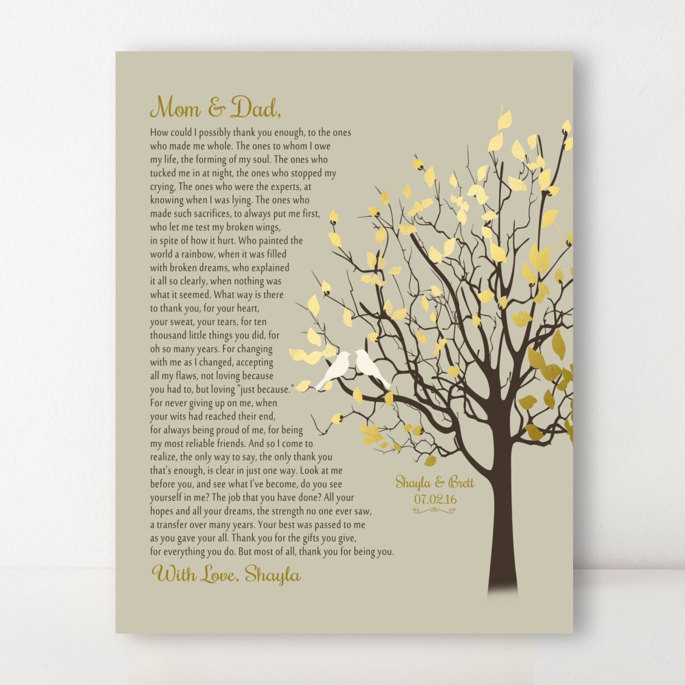 Mom Dad Thank You Gift For Parents On Your Wedding Day