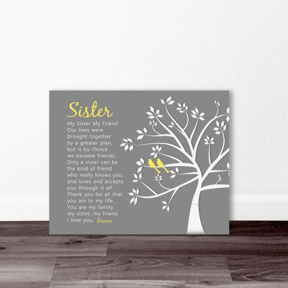 SISTER CHRISTMAS GIFT My Sister Friend Personalized Gift Tree Birds Wedding Birthday Maid Of Honor Poem Canvas Print