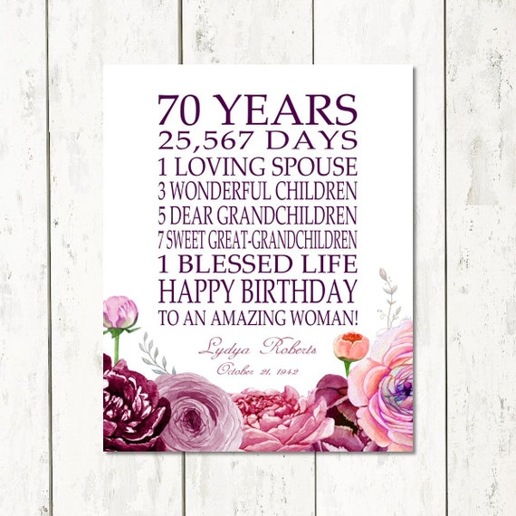 BIRTHDAY GIFT 70 Years Personalized 70th Birthday Gift For Her