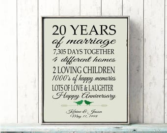20th Anniversary Gift 20 Year Anniversary Gift Canvas/ Print Gift for Parents Personalized Gift Anniversary Gift for Wife Gift for Husband