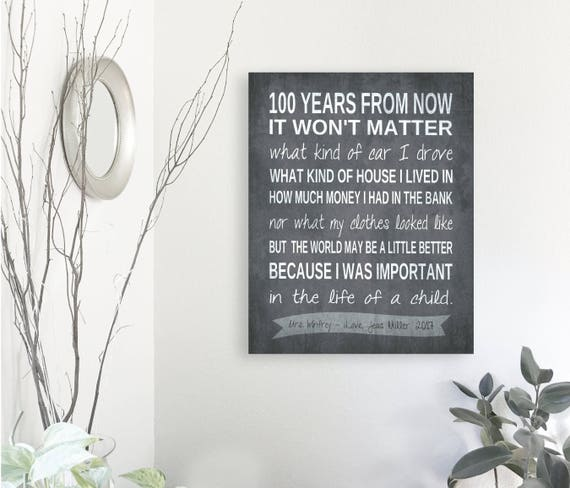 100 years from now personalized teachers gift canvas teacher etsy
