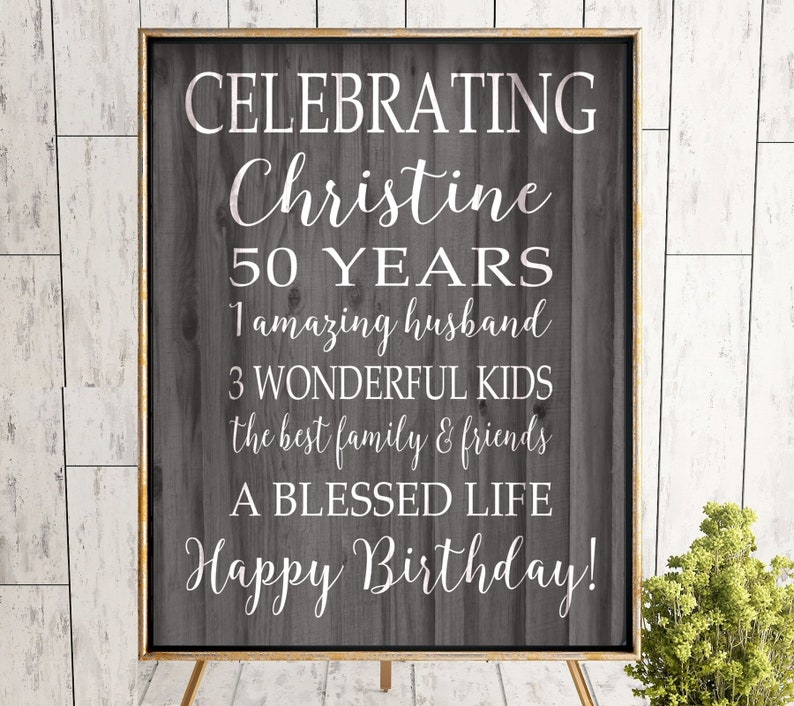 50th BIRTHDAY Party Decorations Personalized Sign 50 Birthday