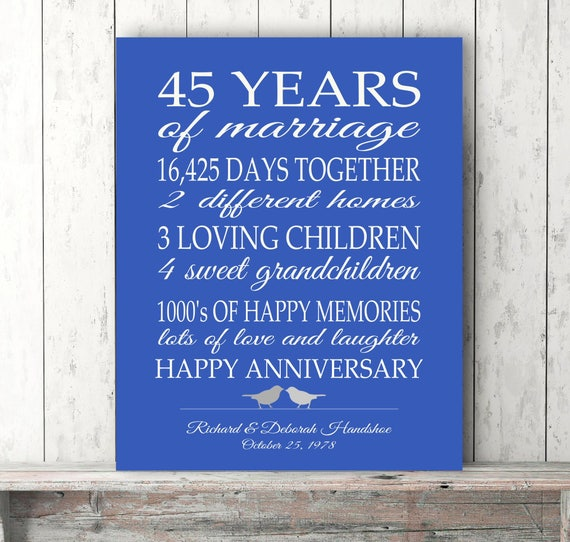 45th Anniversary Gift Parents Sapphire Blue Personalized Love Etsy