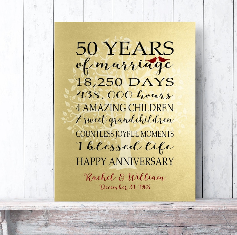 d47406757c2 50th Anniversary Gift Golden Anniversary Faux Gold Foil 50