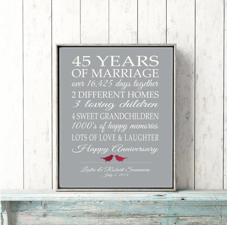 45th Wedding Anniversary Gift.45th Wedding Anniversary Gift Customized Personalized Love Story Stats Important Events Marriage Art Print Unique Your Words Colors