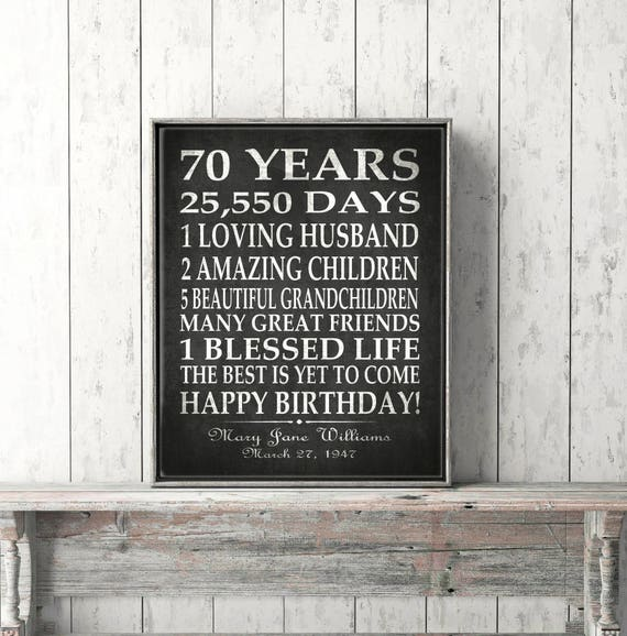 70th BIRTHDAY Party Gift Personalized 70 Birthday Print Over
