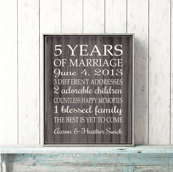 5th Anniversary Gift Print Faux Wood 5 Years 10 15 20 25 Custom Years Personalized Important Dates Marriage Art Modern Wood Background