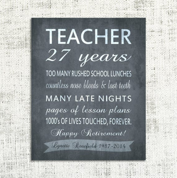 teacher retirement gift canvas personalized inpirational. Black Bedroom Furniture Sets. Home Design Ideas