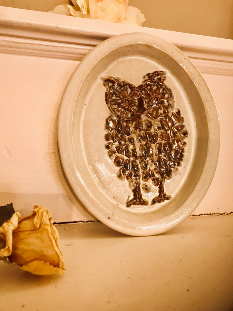 Bennington Potters Owl Plate Cooperative Design Bennington Vermont Owl Hanging Nature lovers Nightowl HootOwl Mid century modern wall plaqu