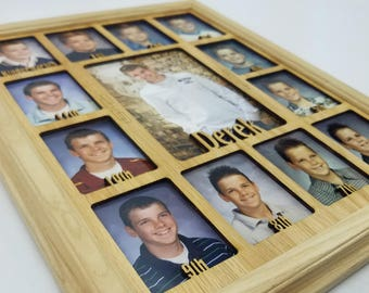 School Years Picture Frame - Personalized With Any Name - 10 Color Choices (Shown with Unfinished Frame) - Graduation Frame - 11x14